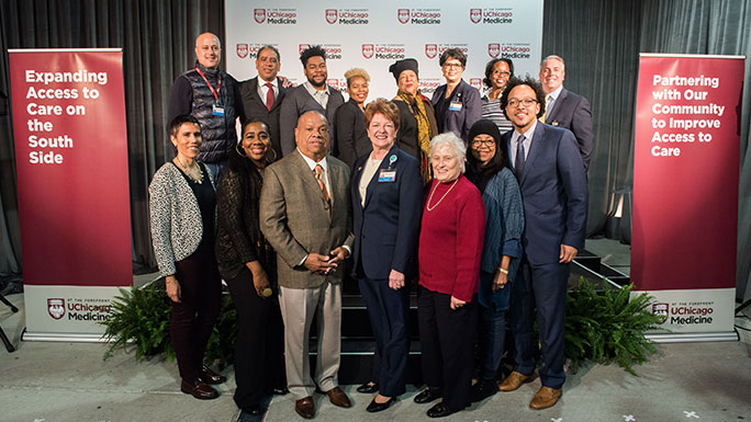 Members of the Community Advisory Council and UChicago Medicine executives at the adult trauma center ribbon-cutting ceremony