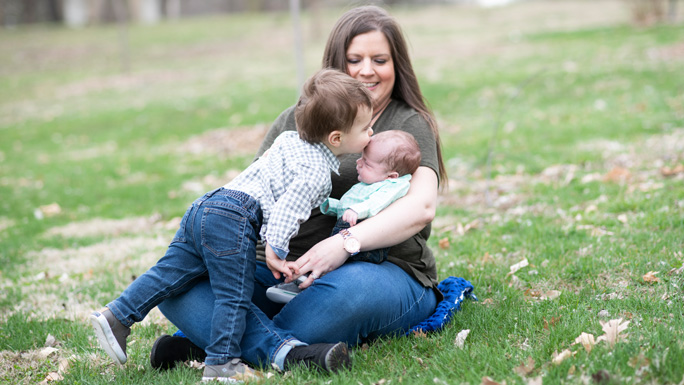 Jessica Blackford-Cleeton with Avery, 21 months, and baby Elliott