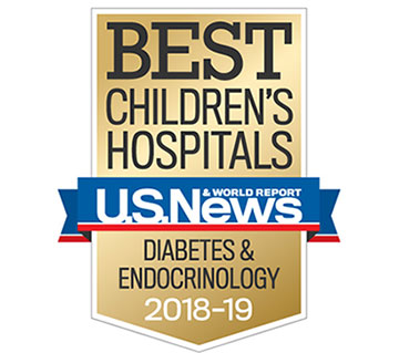 Nationally ranked by the US News & World Report as one of the best children's hospitals for pediatric diabetes and endocrinology 2018-19