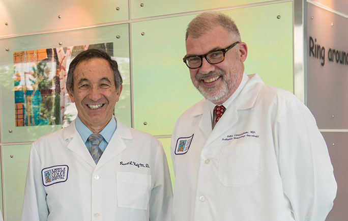 The primary immunodeficiencies team members Raoul Wolf, MD, and John Cunningham, MD, at Comer Children's Hospital