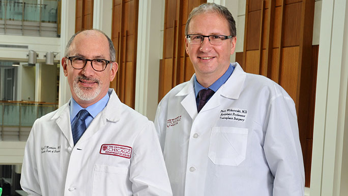 Dr. Jeffrey B. Matthews, Dallas B. Phemister Professor of Surgery and Chair of the Department of Surgery, and Dr. Piotr Witkowski, Assistant Professor of Surgery and Director of the Pancreatic and Islet Transplant Program