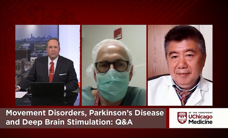 Neurologist Dr. Tao Xie and neurosurgeon Dr. Peter Warnke discussing movement disorders, parkinson's disease and deep brain stimulation