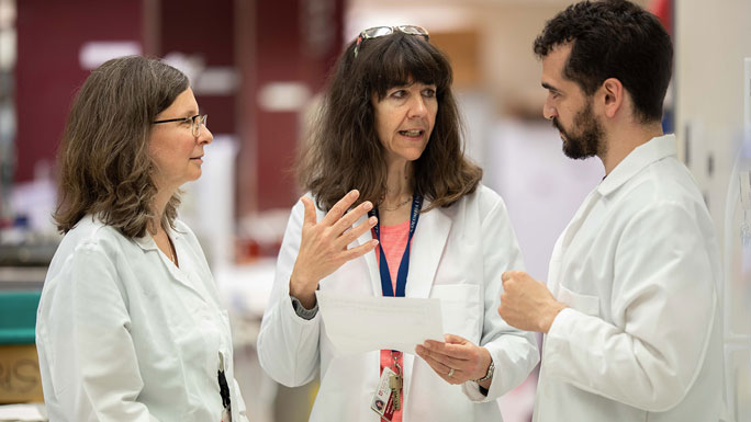 Two female and one male cancer researchers