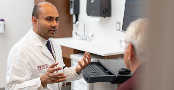 Nishant Agrawal, MD, and patient