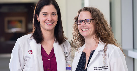 Genetic counselors Sarah Nielson, MS, CGC, and Feighanne Hathaway, MS, CGC
