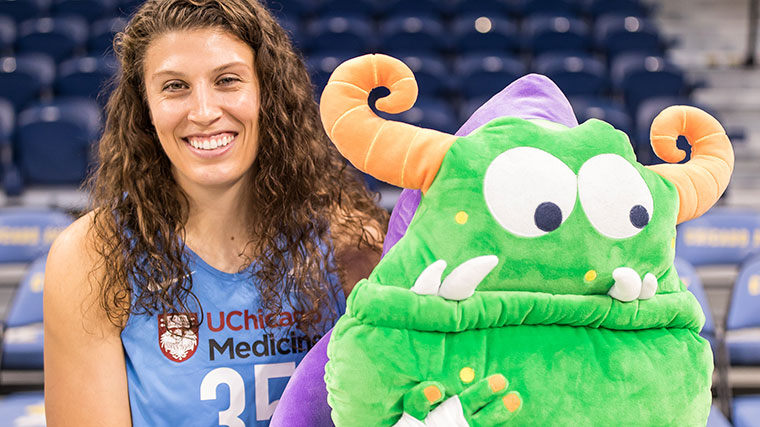 WNBA Chicago Sky Jordan Hooper with Remoc at the Chicago Sky Media Day