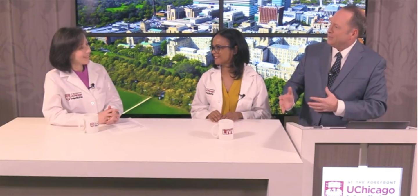 Gynecologists Stacy Tessler Lindau, MD, and Monica Christmas, MD and Tim Brown discussing women's health.