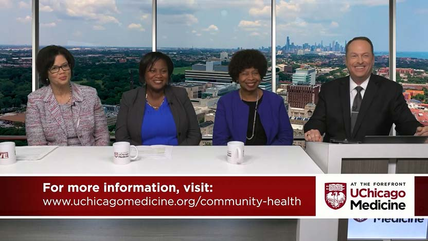 Brenda Battle, Catina Latham and Doriane Miller, MD discuss community health priorities.