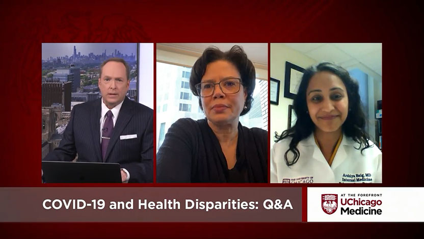 Community health experts Dr. Doriane Miller, Dr. Arshiya Baig, and Brenda Battle discuss concerns during the pandemic, including disparities in underserved communities, the medical center's response and resources to help address these challenges.