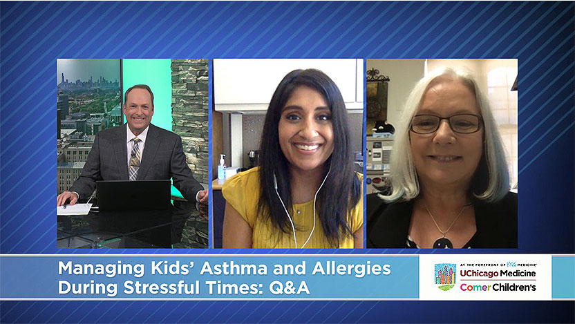 Screenshot of host Tim Brown and pediatric specialists Ruchi  Singla, MD, and B. Louise Giles, MD