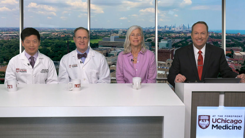Tim Brown, Susan Axelrod and neurologists Douglas Nordli, JR., MD and James Tao, MD, PhD discussing epilepsy advancements.