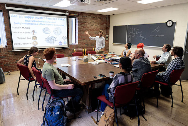 A joint meeting of students in the Jablonski and Price labs.