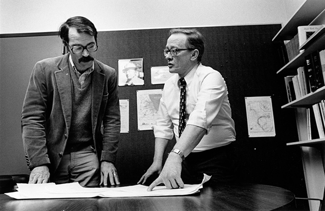 Jack Sepkoski, PhD, left, and David Raup, PhD, in the 1980s. Their collaboration contributed to the knowledge of extinction events.