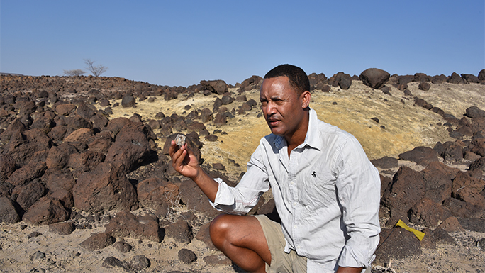Zeray Alemseged, PhD with fossil