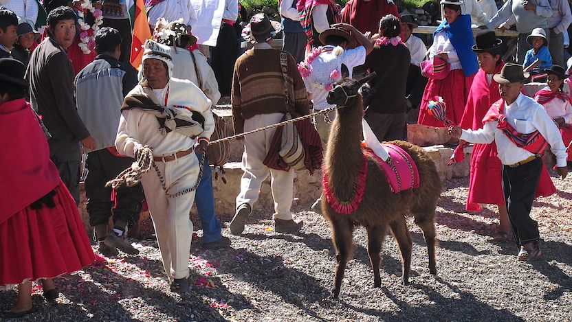 A traditional Aymara ceremony in Copacabana, on the border of Lake Titicaca in Bolivia.