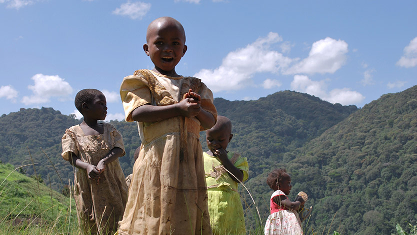 Batwa children play on the outskirts of the Bwindi Impenetrable Forest in Uganda.