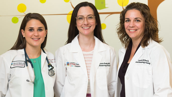 Nurse Gracie Foote, pediatric oncologists Michelle Nassin, MD, and Jennifer McNeer, MD