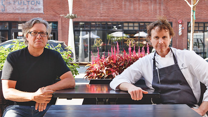 Restauranteur Nick Kokonas and chef Grant Achatz, tongue cancer survivor