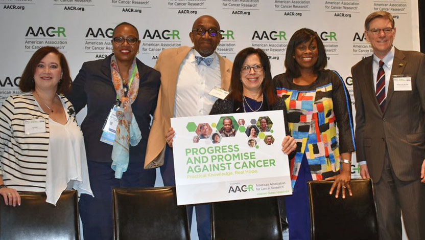 AACR 2018 group, including Funmi Olopade, MD, and Ivy Elkins, lung cancer survivor