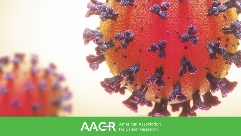 A 3D render of the coronavirus over the AACR logo.