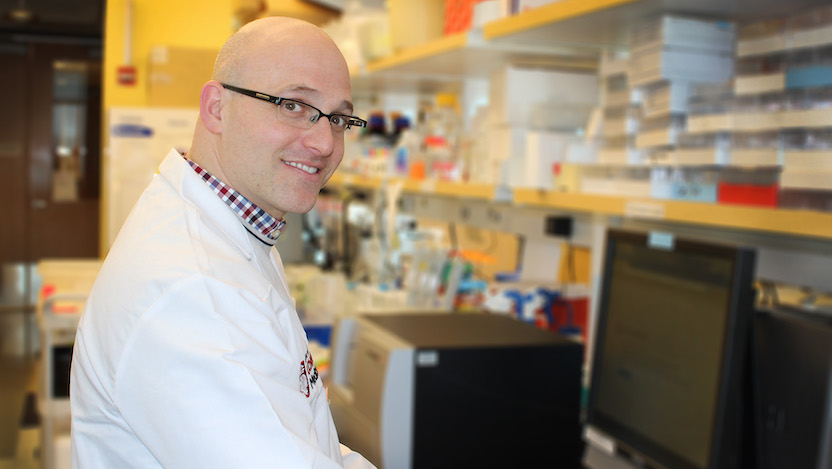 Associate Professor of Medicine Daniel Catenacci, MD, in his laboratory
