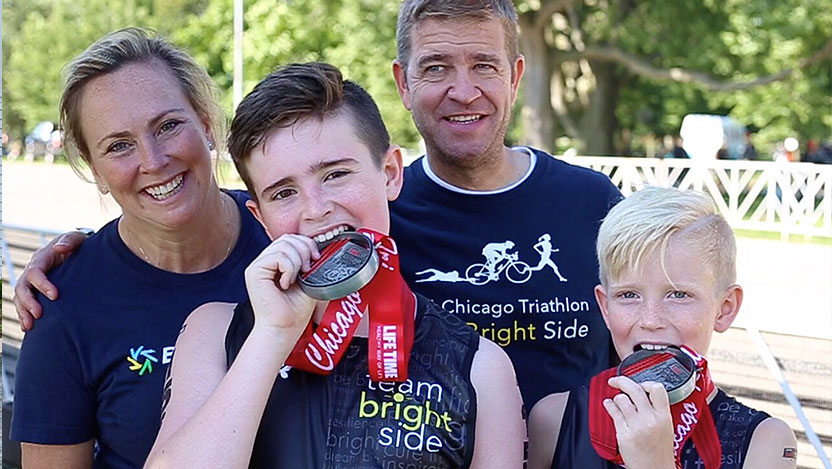 Ryan, Sean, Tracey and Ray Scheppach represent Team Bright Side during the Chicago Triathlon to raise money for groundbreaking research.