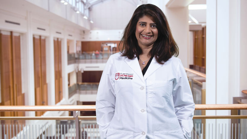 Medical oncologist Sonali Smith, MD, in the DCAM atrium