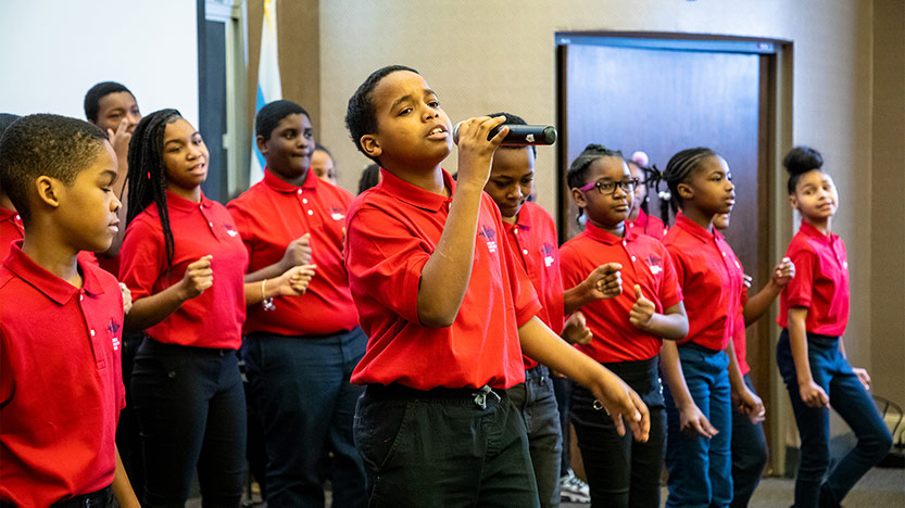 KIPP Bloom College Prep in-house choir sings during the Martin Luther King, Jr. Celebration held on Jan. 21.