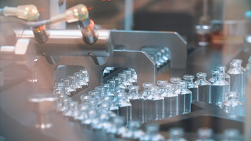 vaccine vials in a factory