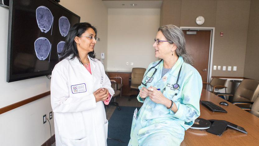 Child abuse pediatricians Veena Ramaiah, MD, left, and Jill C. Glick, MD, Medical Director of Child Advocacy and Protective Services at the University of Chicago Medicine Comer Children