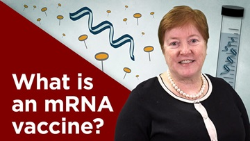 "Kathleen Mullane, DO, PharmD, standing next to text saying ""What is an mRNA vaccine?"""