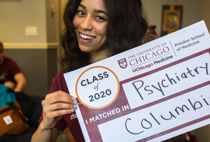 Pritzker student Catherine Castro shows her match in psychiatry at Columbia University.