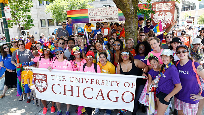 UChicago and UChicago Medicine marchers at Chicago's annual Pride Parade