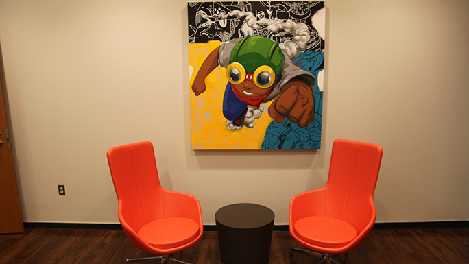 Artwork in lounge for teens with cancer at Comer Children's Hospital