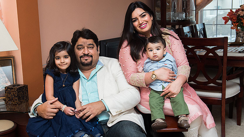Sana Khan and her husband, Junaid Fahmi, with their daughter, Aroush, and son, Anzer