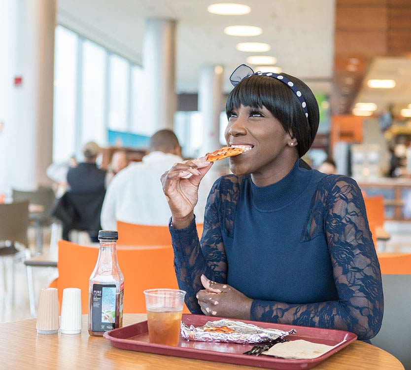 Dorian Brantley, achalasia patient, in the CCD Sky Cafe enjoying her favorite foods again