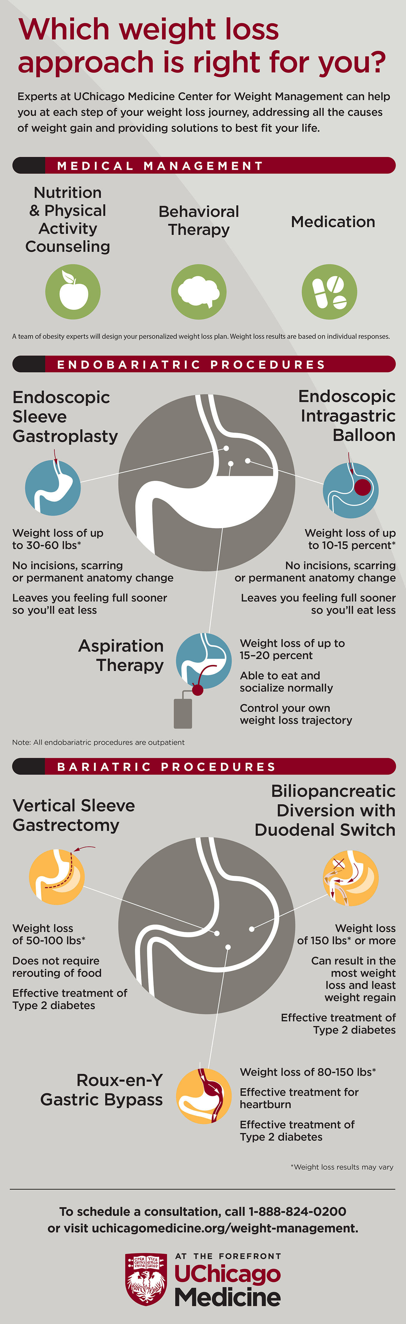 Infographic explaining medical weight loss options