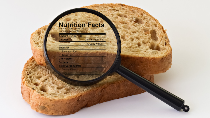 Bread with a nutrition label