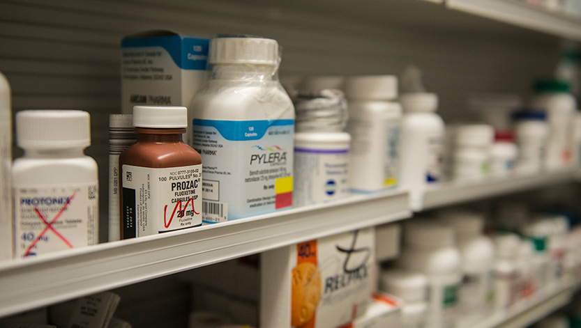 Drugs on a pharmacy shelf