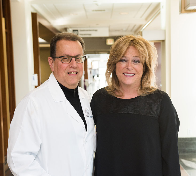 Karen Bluemke with Dr. Mitchell Posner, GI cancer specialist