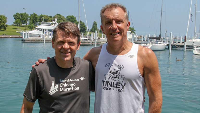 Donor Mike Blake (left), with kidney donation recipient Rich Matula.