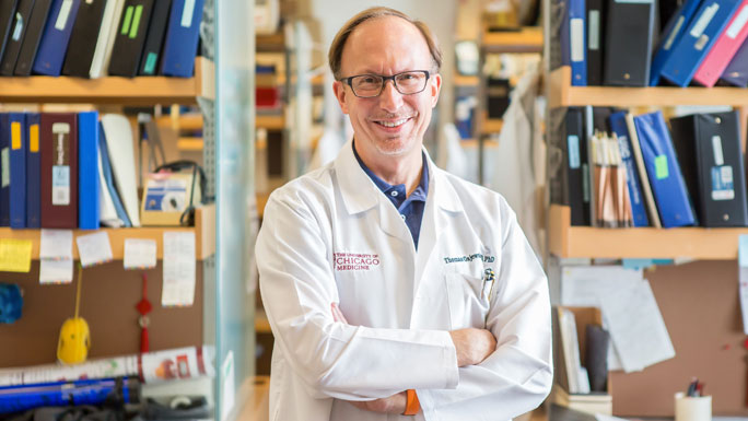 Thomas Gajewski, MD, PhD, in lab