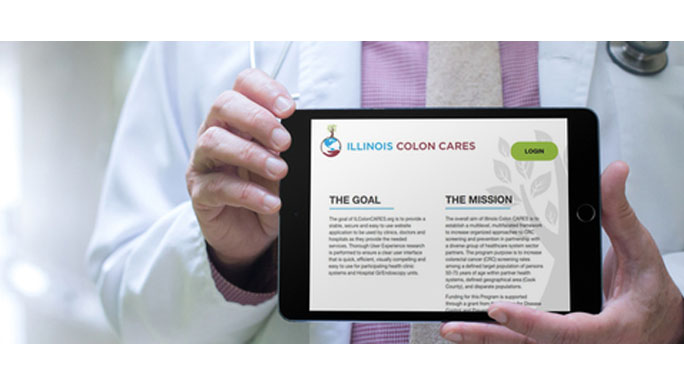 Illinois Colon Cares website on iPad