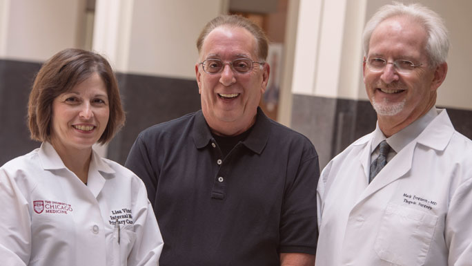 Internist Lisa Vinci, MD; Greg Klawitter, lung cancer survivor; Mark Ferguson, MD, thoracic surgeon