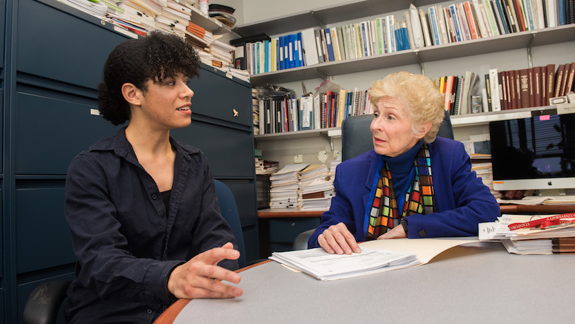 GRIT co-founder Christina Roman meets with faculty advisor Nancy Schwartz, PhD, dean and director of postdoctoral a airs.