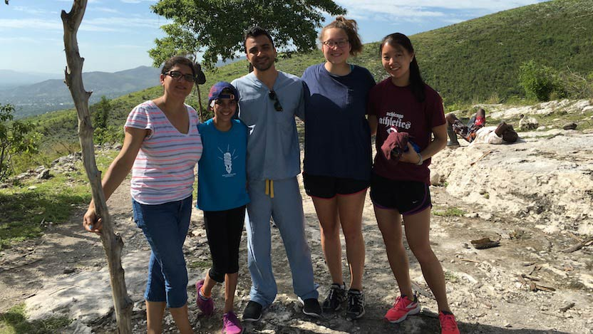 Sarosh Rana (left) with her daughter, Sana; Hadi Ramadan, MD, now a resident in OB/Gyn in Virginia; and students Rebekah Sugarman and Eleanor Kang in Haiti