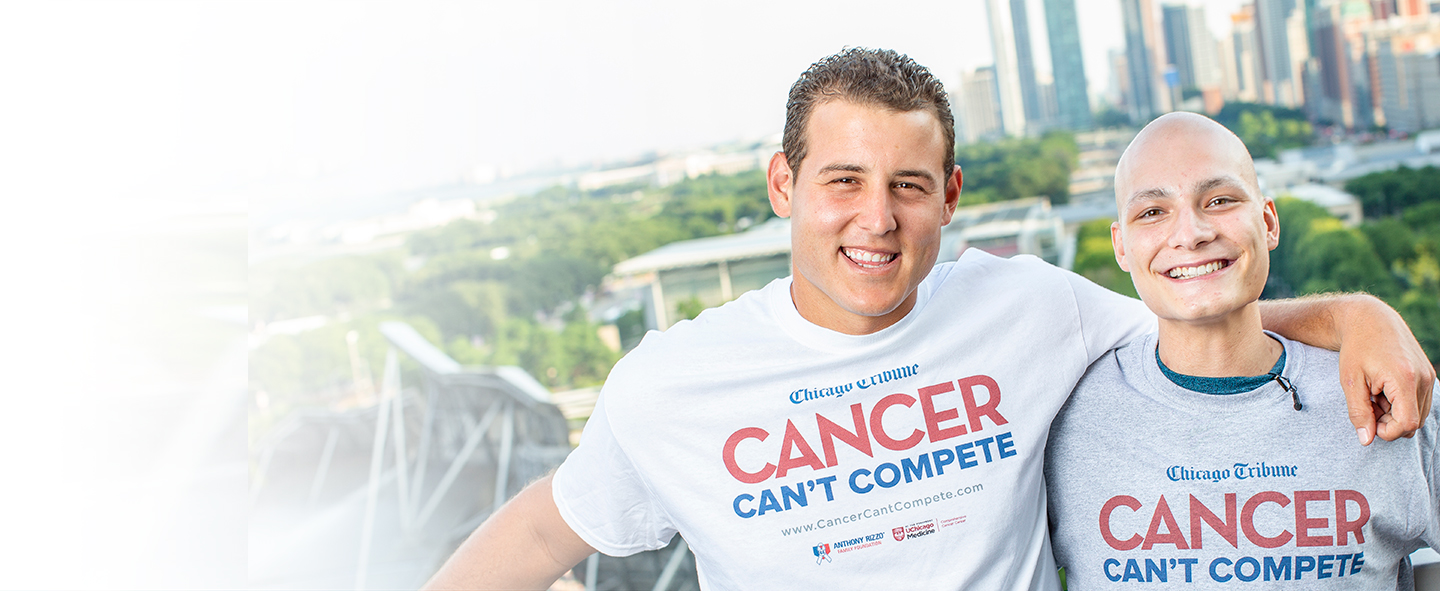 Anthony Rizzo with pediatric cancer survivor, Anthony Bendy