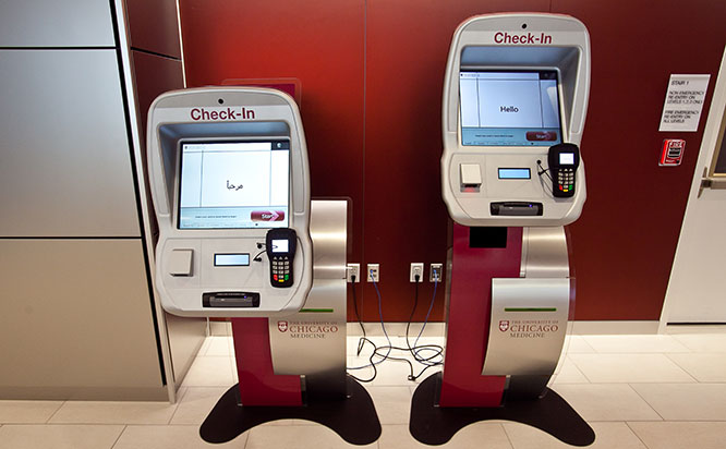 Self check-in stations at Orland Park