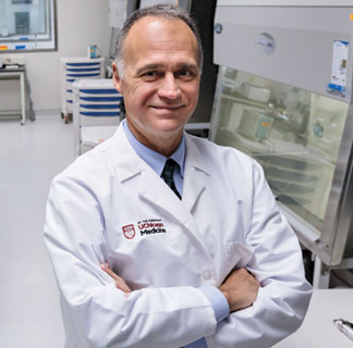 Michael Bishop, MD, in cellular therapy lab