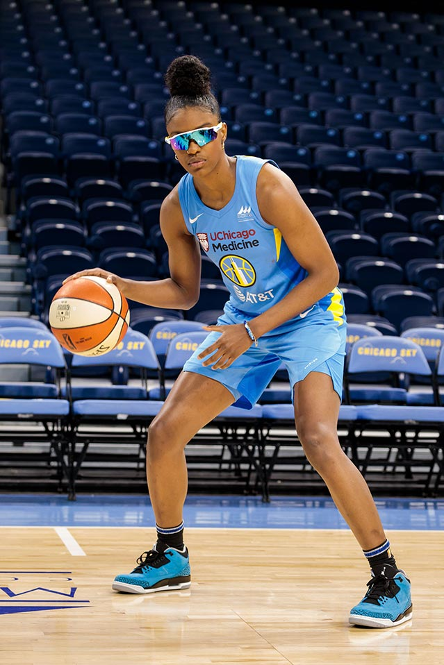 Diamond DeShields sports her protective goggles on the court